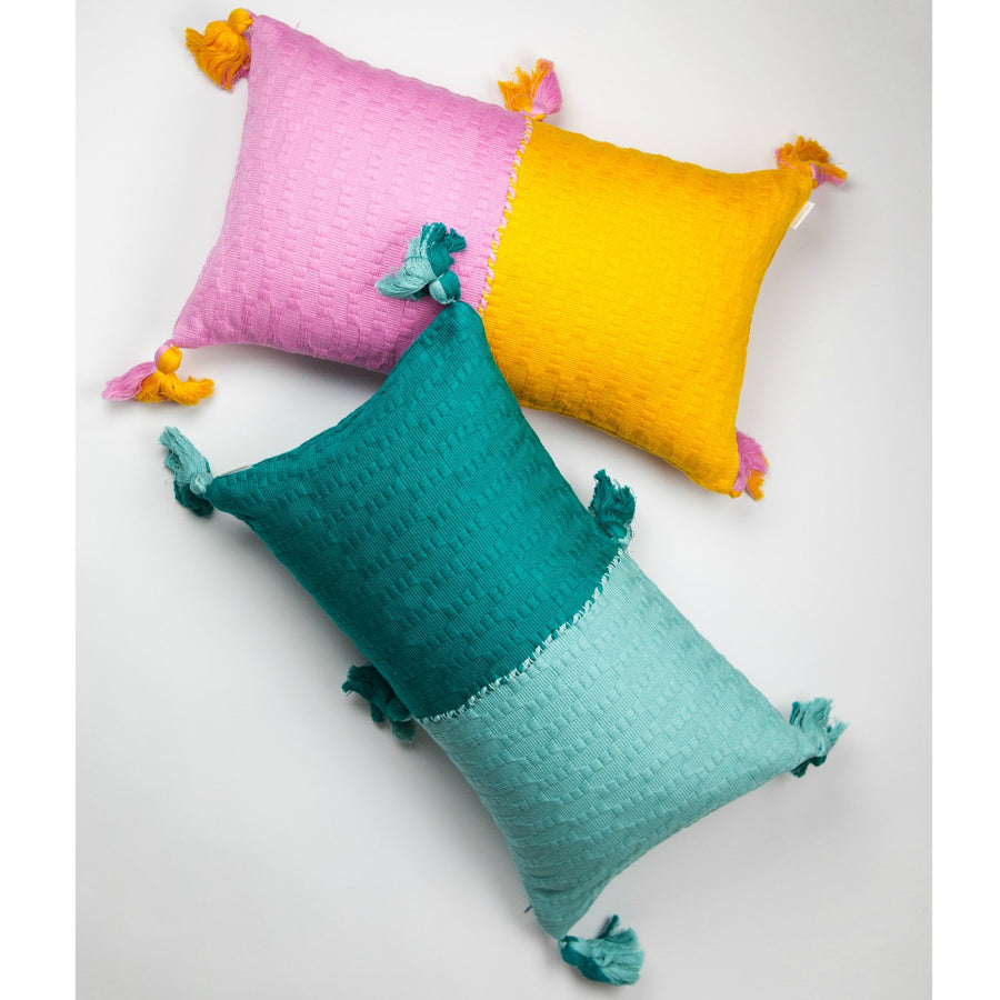 Furbish Studio - Antiqua Colorblock lumbar pillows in pink / orange and teal / mint