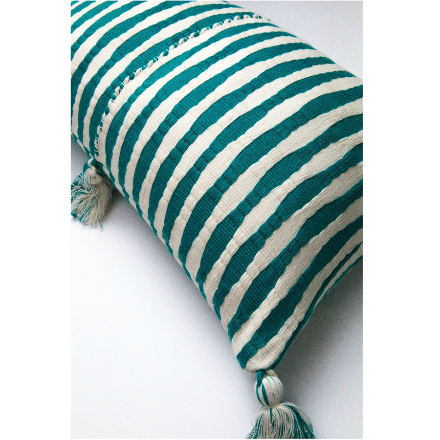 Furbish Studio - Antigua Lumbar pillow in Jade closeup of weave and colors