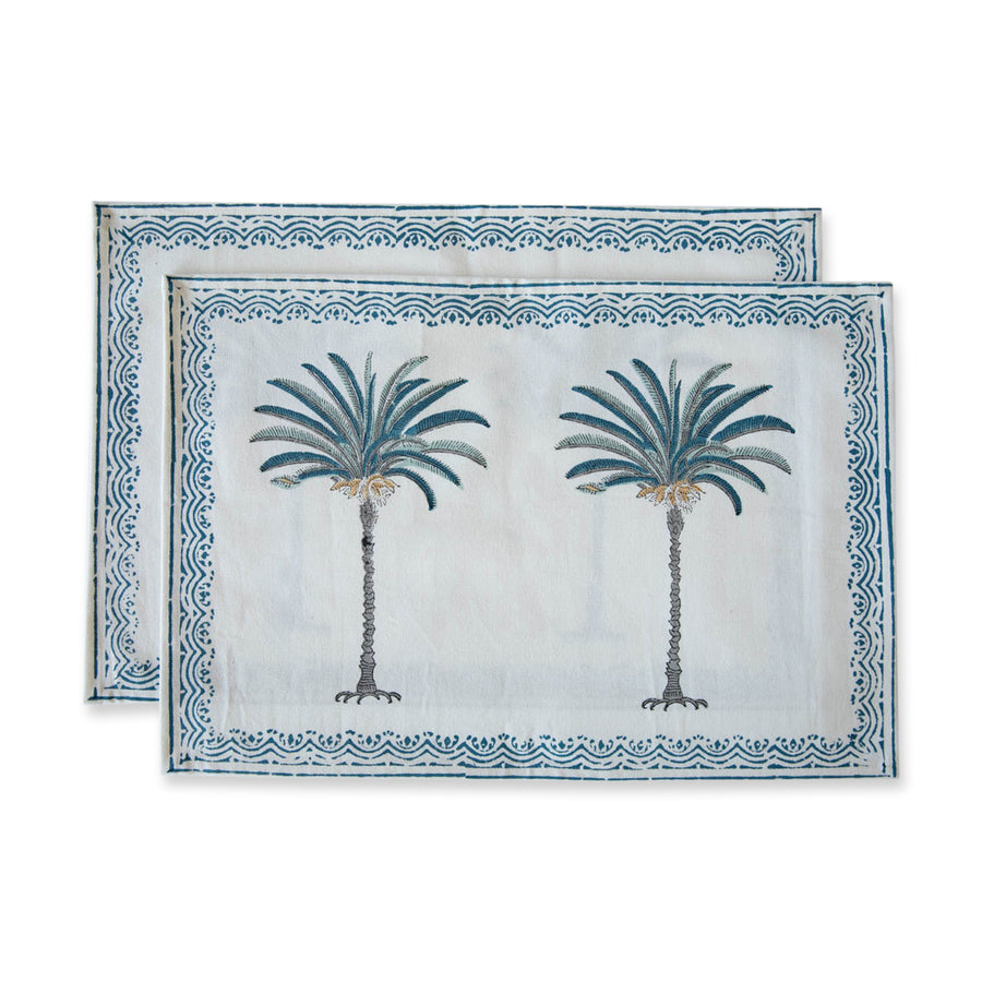 Furbish Studio - Blue Palm Placemat shown as a pair