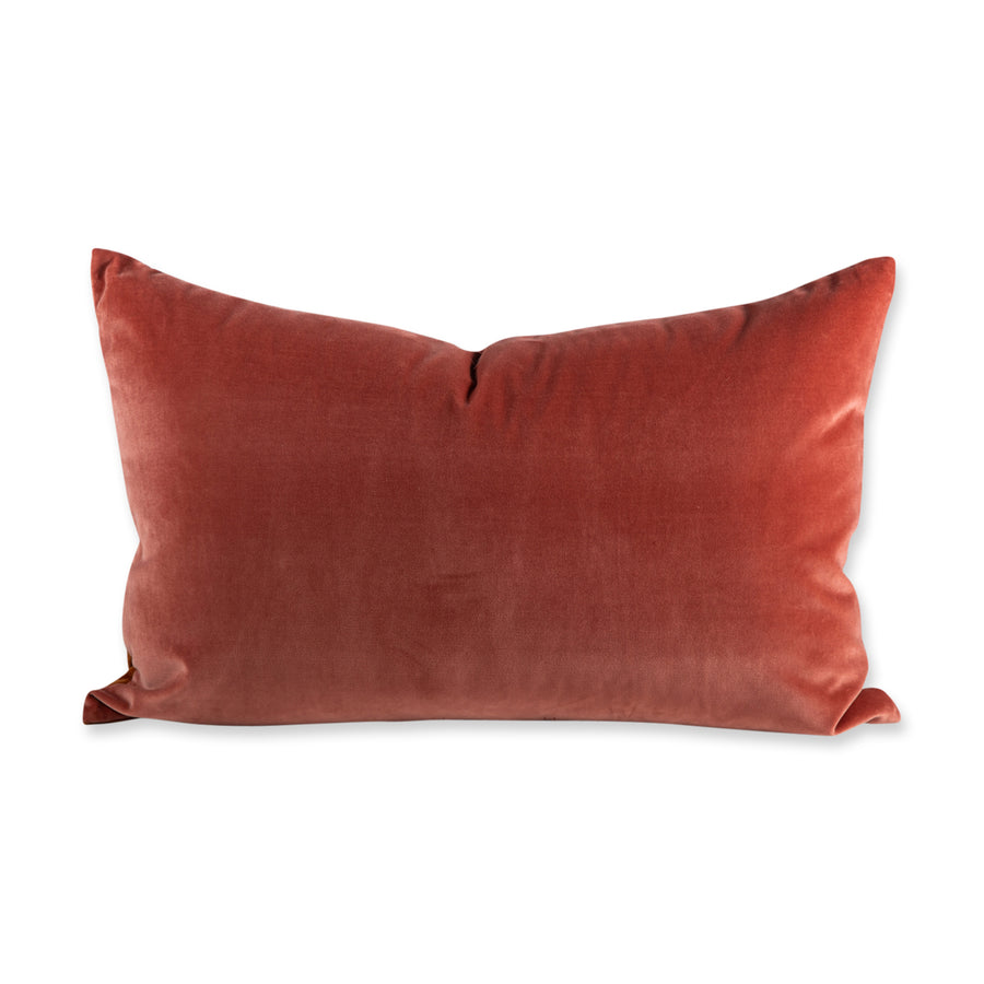 FURBISH STUDIO - Cooper Velvet PIllow - Burnt Orange + Salmon back of pillow