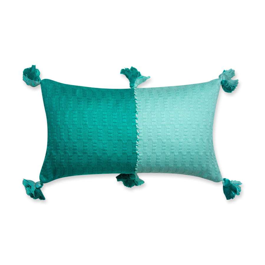 Furbish Studio - Antigua Colorblocked Lumbar in Jade and Faded IndigoFurbish Studio - Antigua Colorblocked Lumbar in Jade and Faded Indigo
