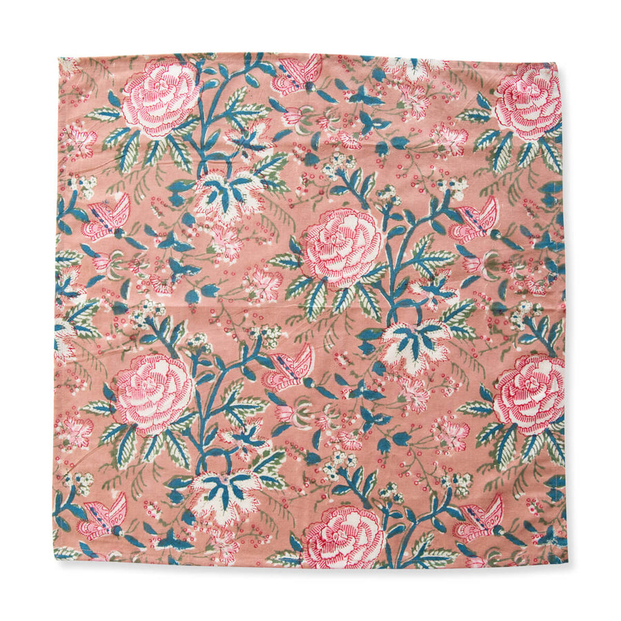 FURBISH STUDIO - Palma Napkin unfolded coral and teal botanical rose flowers