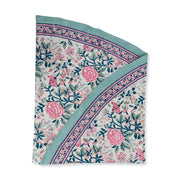 FURBISH STUDIO - Shefali Round Tablecloth closeup of small floral design and folded edge