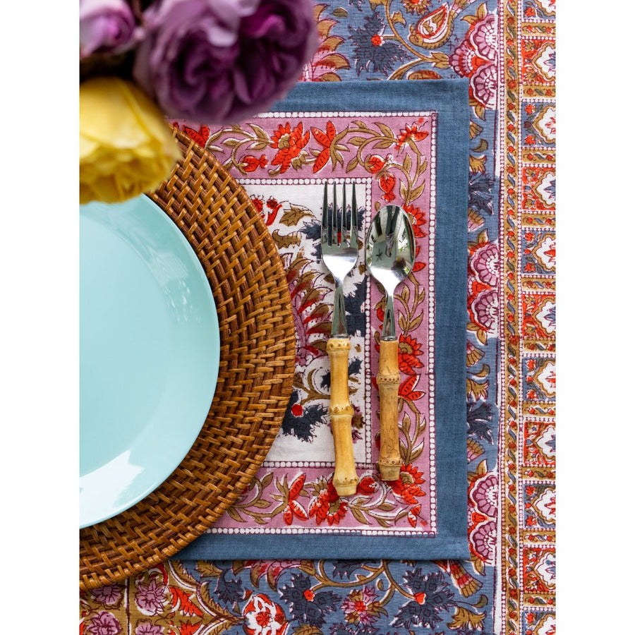 FURBISH STUDIO - amalfi tablecloth and placemat with bambook fork and spoon