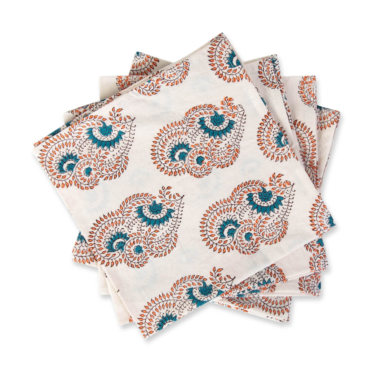 Furbish Studio - Bar Harbor Napkin paisley mandala print stack of 4
