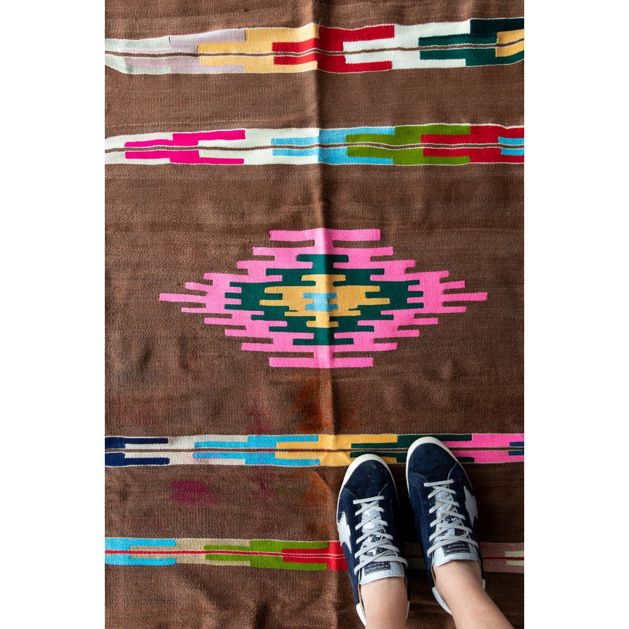 FURBISH STUDIO Liprari  Vintage Kilim rug runner with tennis shoes