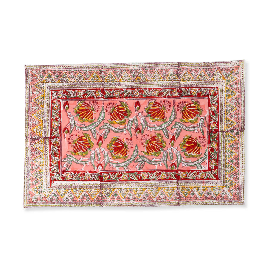 Furbish Studio - Lissie Placemat in coraal, red, green, yellow and white floral block print