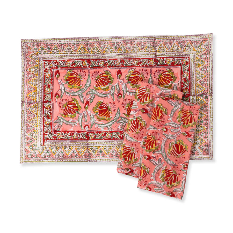 Furbish Studio - Lissie Placemat in coraal, red, green, yellow and white floral block print with matching napkins