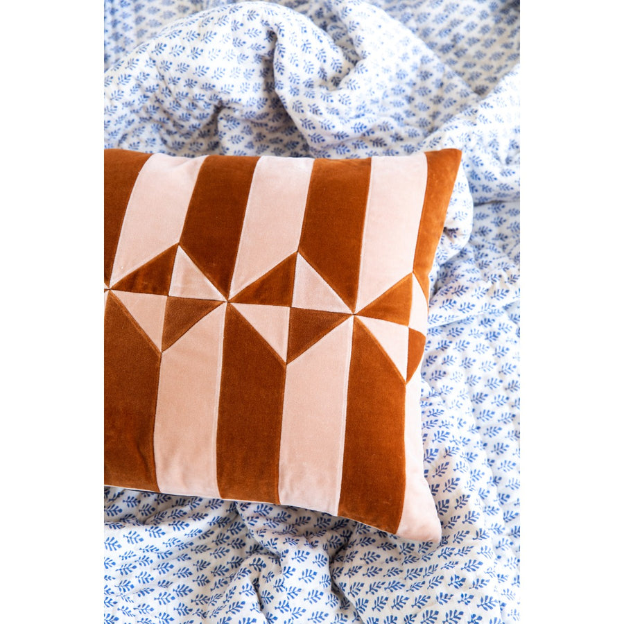 Furbish Studio - Hopkins Velvet Pillow - Peach + Burnt Orange styled on a blanket