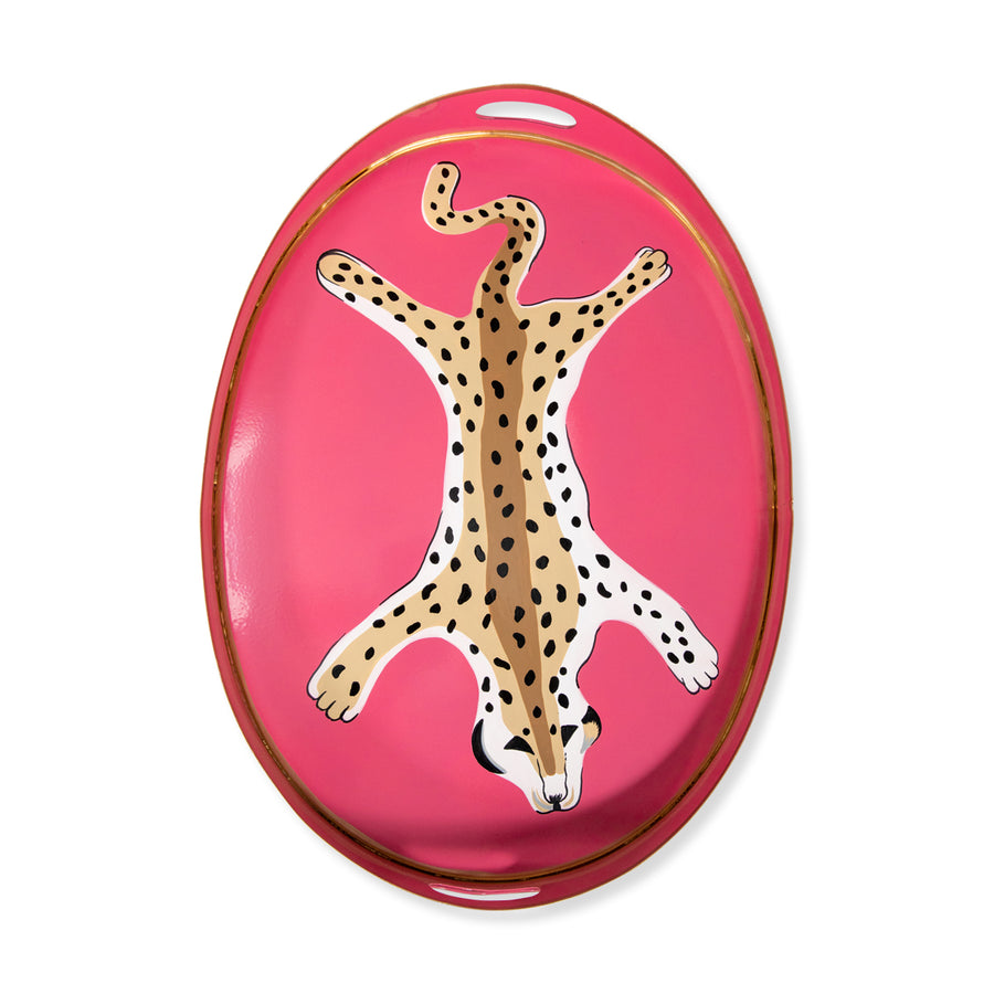 Furbish Studio - Pink Leopard Cocktail Tray overhead view