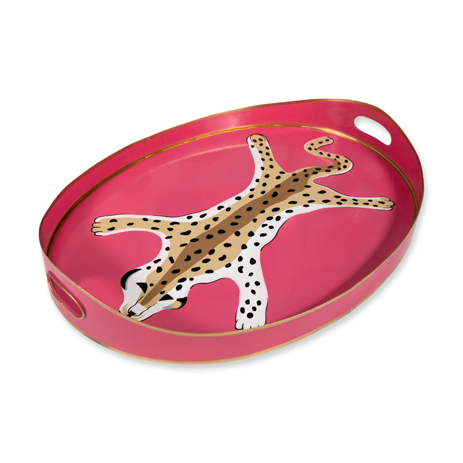 Furbish Studio - Pink Leopard Cocktail Tray side view