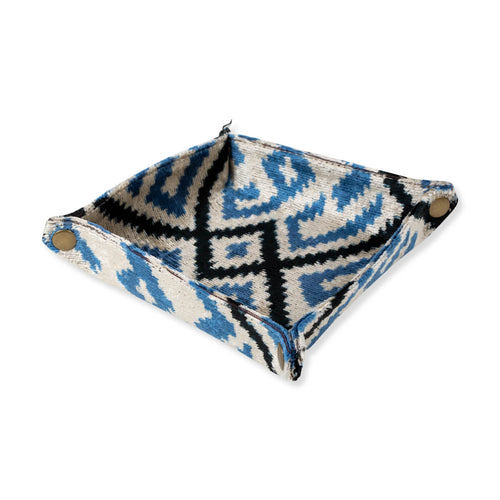 Furbish Studio - Velvet Ikat Trays in Cerulean Blue / Ivory / Black
