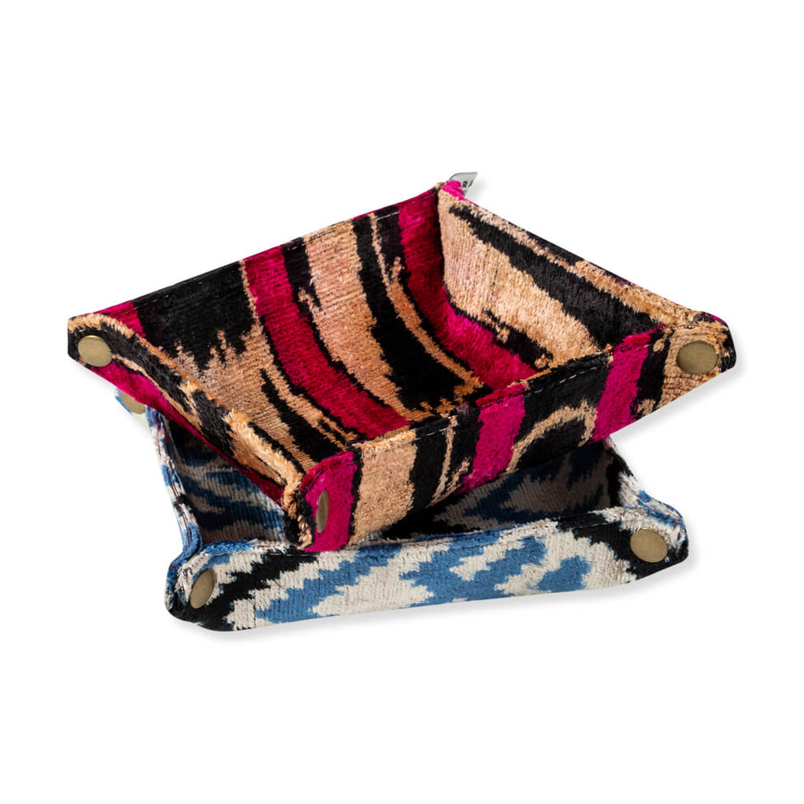 Furbish Studio - Velvet Ikat Trays in Pink / Gold and Blue / Ivory