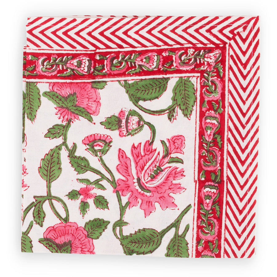Furbish Studio - Pretty in Pink Napkin with pink and green floral design and chevron border closeup of edge