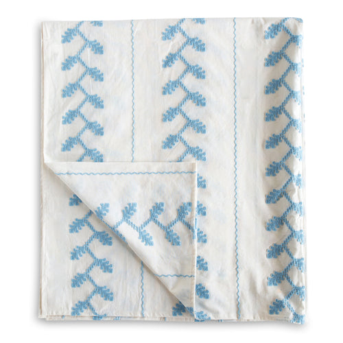 Helena Embroidered Tablecloth - Blue