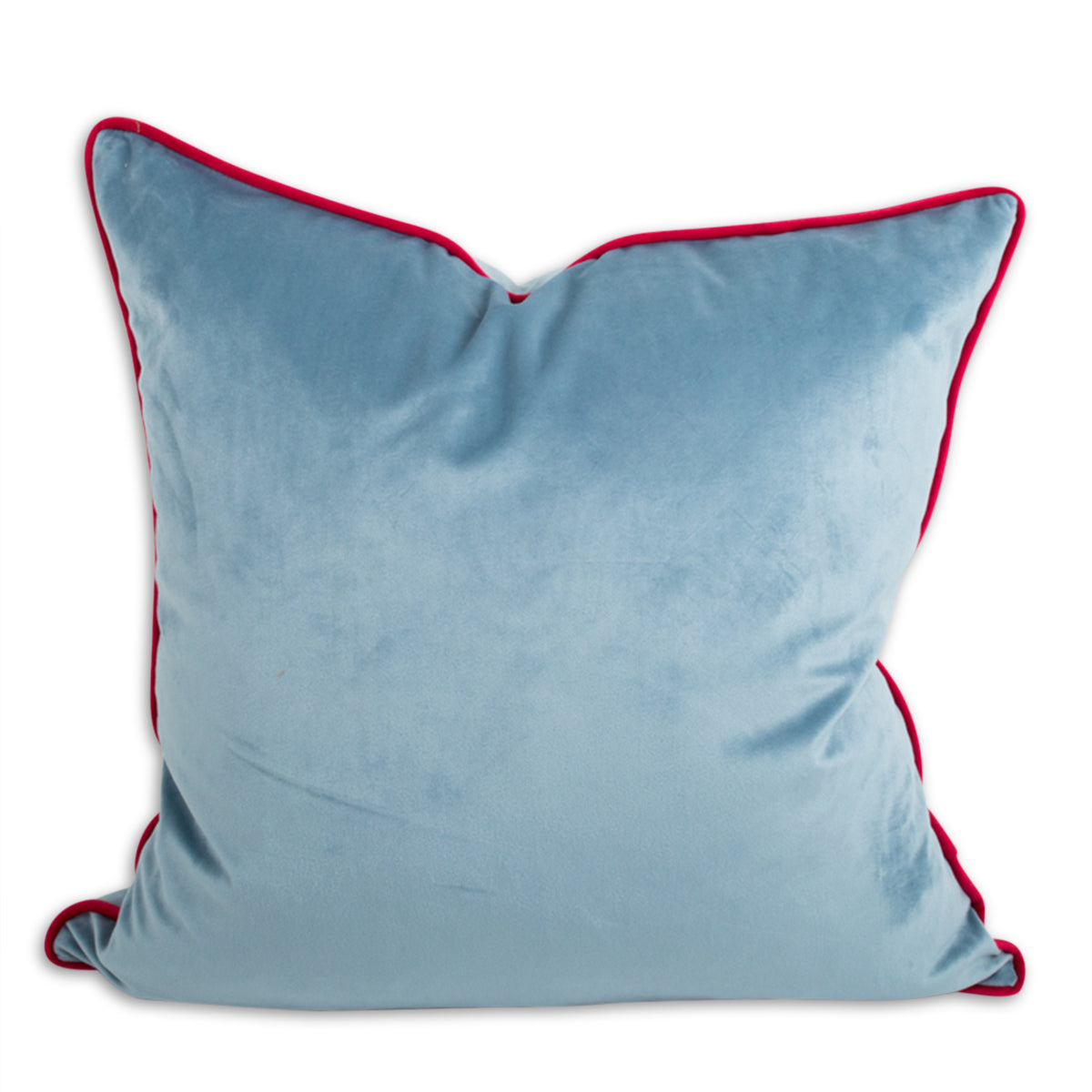 Yves Velvet Pillow - Light Blue + Cherry