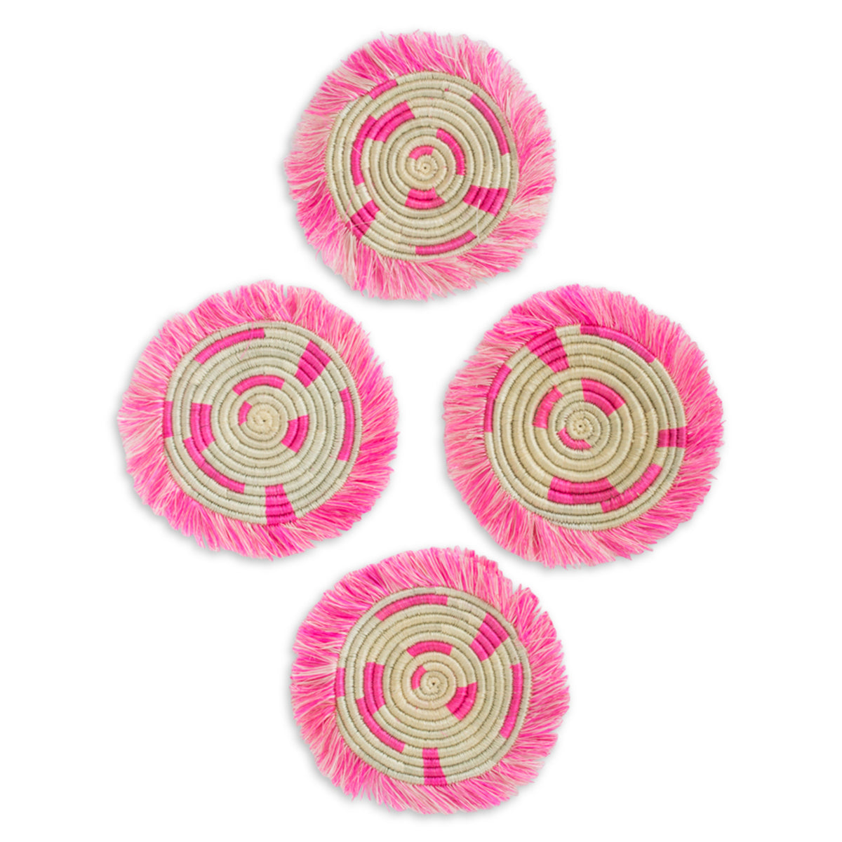 Beachfront Fringed Coasters - Neon Pink