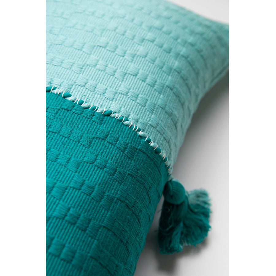 Furbish Studio - Antigua Colorblocked Lumbar in Jade and Faded Indigo closeup of weave and colors and tassel
