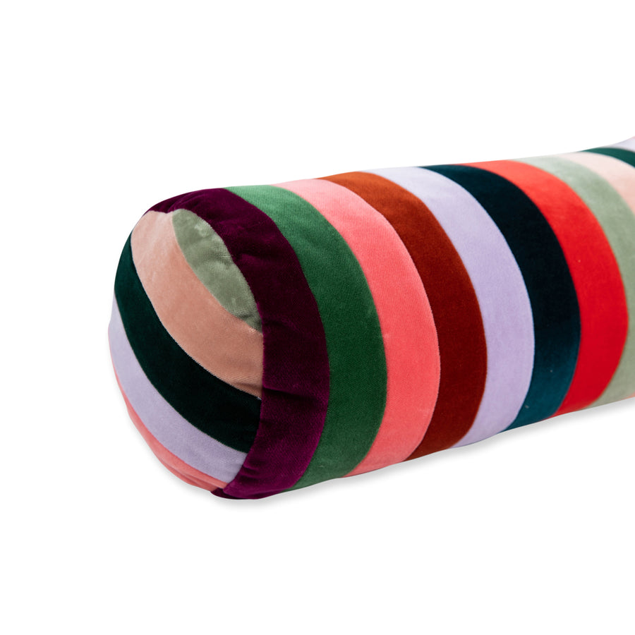 Furbish Studio - Baies Stripe Vevlet Bolster - Rainbow closeup front view
