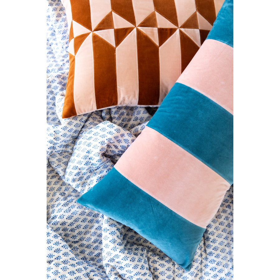 Furbish Studio - Durant Velvet Pillow - Blush + Blue Dusk styled with another pillow