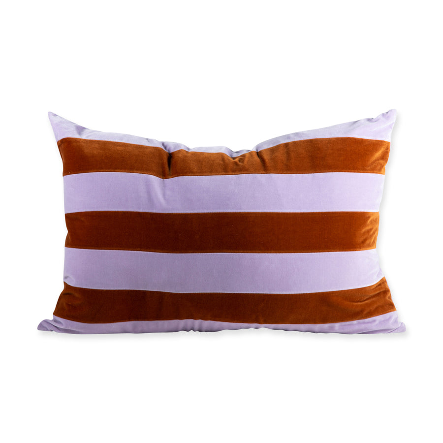 Furbish Studio - Francis Velvet Pillow - Lilac + Burnt Orange front view