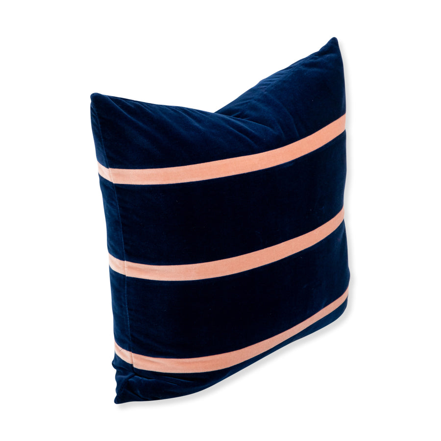 Furbish Studio - Jima Velvet Pillow - Blush + Ink front from an angle