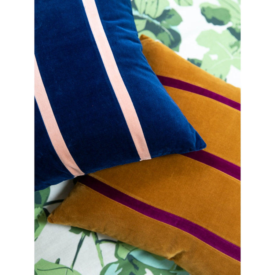 Furbish Studio - Jima Velvet Pillow - Blush + Ink stacked with curry Jima Pillow