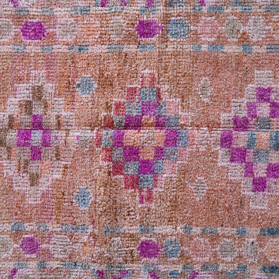 Furbish Studio - Juiles Vintage Runner Rug closeup of center design weave and colors