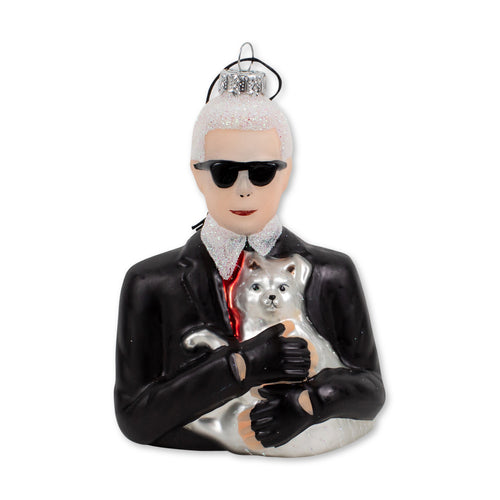 Furbish Studio - Karl Lagerfeld Glass Christmas Ornament