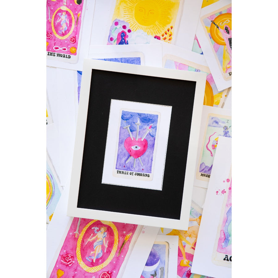 Furbish Studio - Tarot Card Print _Three of Swords_ styled