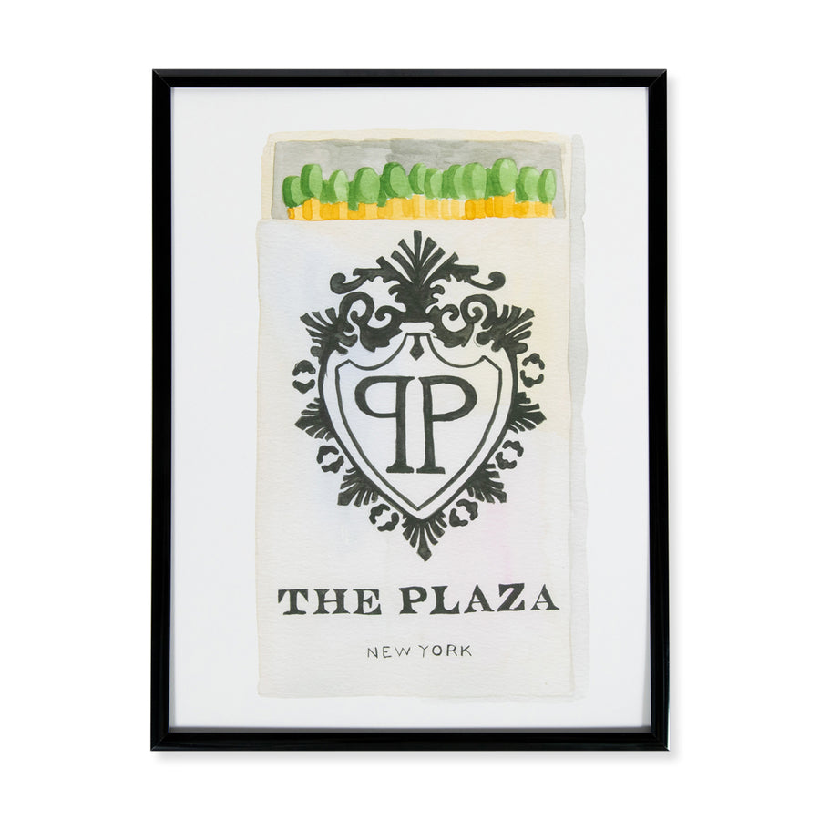 Furbish Studio - The Plaza NY Matchbook Watercolor Print 9x12 framed