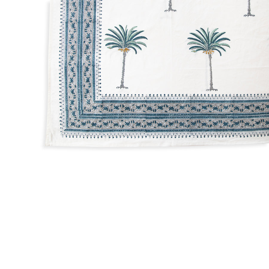 Furbish Studio - blue palm tablecloth closeup of corner edge