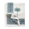 Furbish Studio - blue palm tablecloth closeup of folded corner