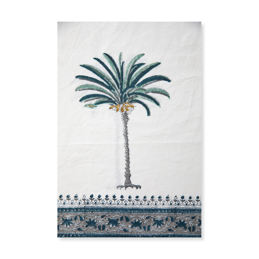 Furbish Studio - blue palm tablecloth closeup of palm tree