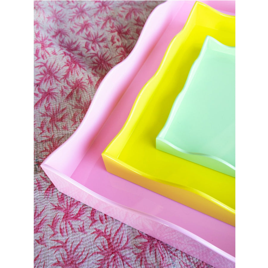 Furbish Studio Belles Rives trays stacked pink yellow and mint closeup of corner edges