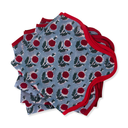 Furbish Studio - Capri Blockprint Napkin with Blue Blockprint Pattern and Red Trim shown as group of 4