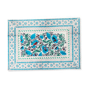 Furbish Studio - Noelle Placemat floral block print in blues, mint, ivory and scarlet