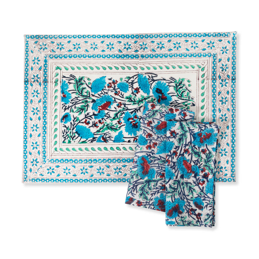 Furbish Studio - Noelle Placemat floral block print in blues, mint, ivory and scarlet with matching napkins