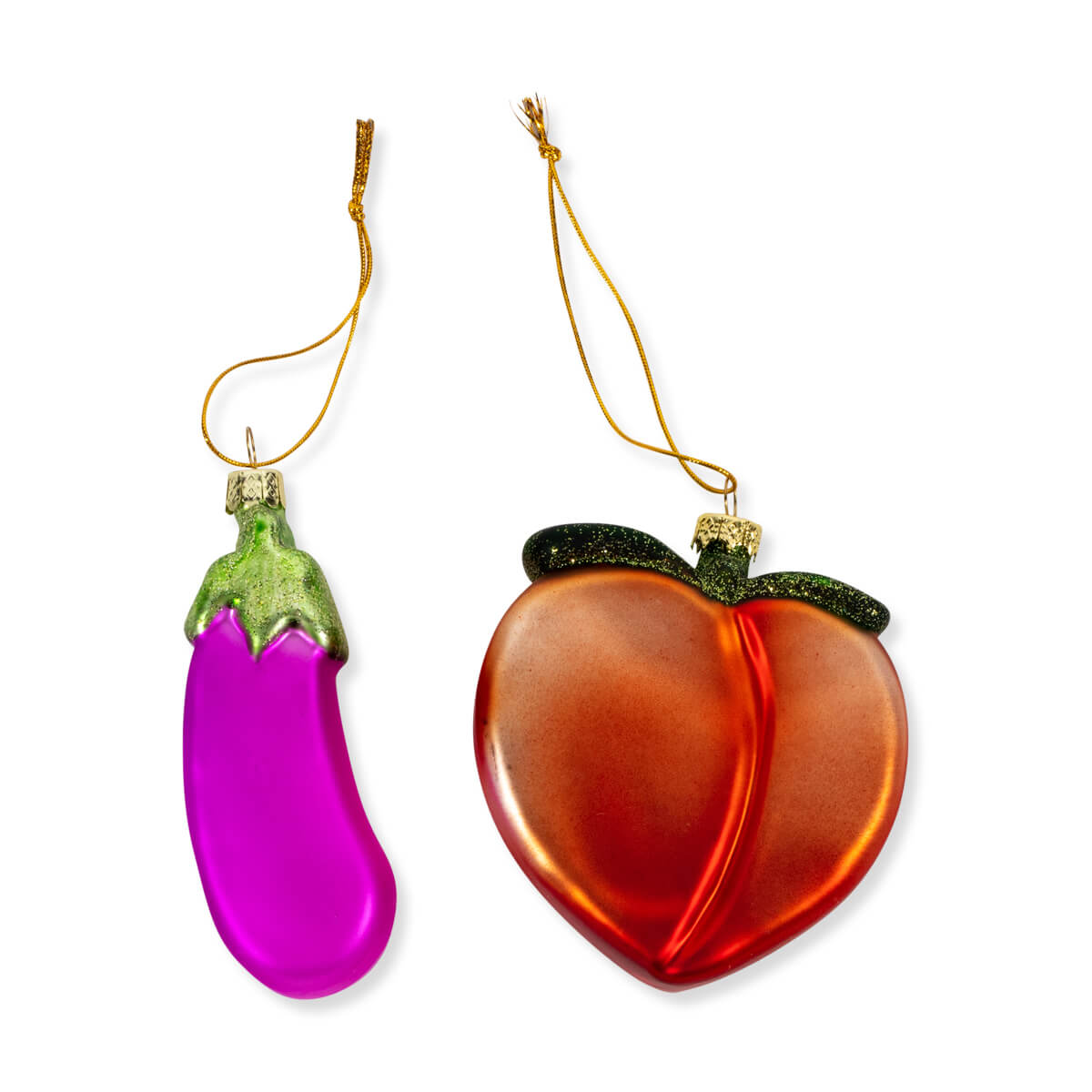 Furbish Studio - Furbish Studio Peach and Eggplant Emoji Christmas Ornament Pair