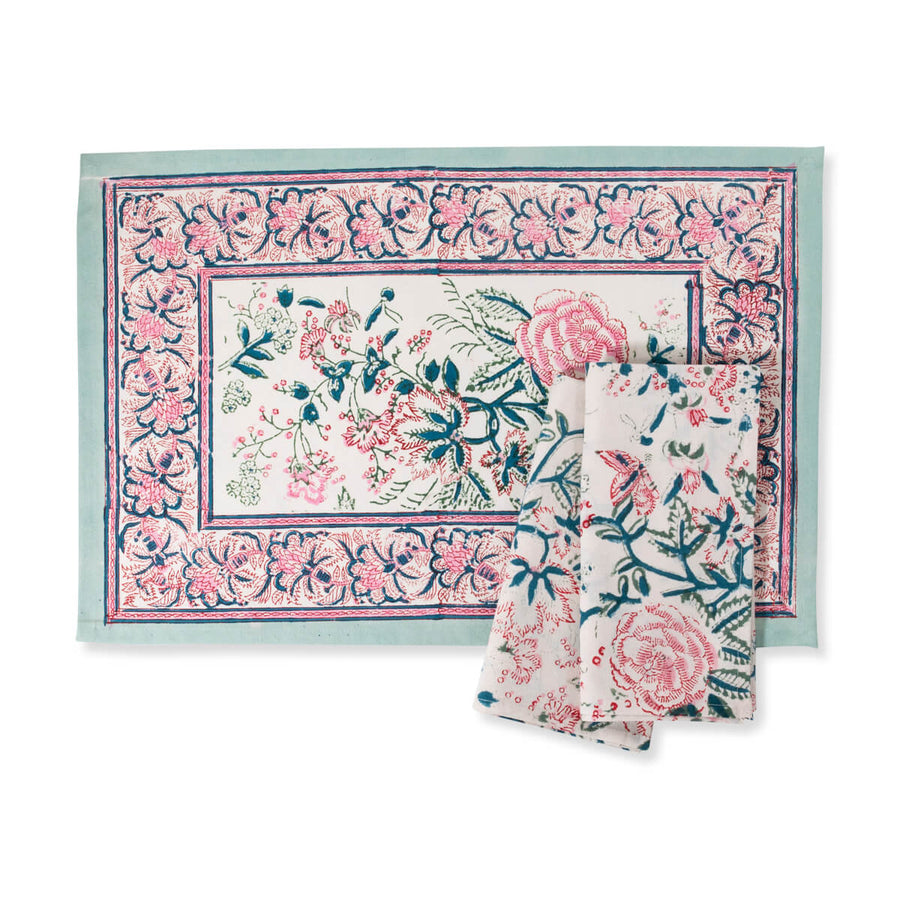 Furbish Studio - Shefali Placemat rose pattern blockprint in pinks, mint, spruce and ivory with matching napkins
