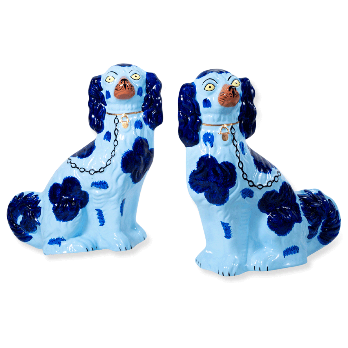 Furbish Studio - Staffordshire Dog Pair of Christmas Ornaments in Blue