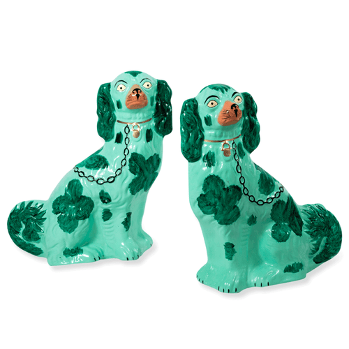 Furbish Studio - Staffordshire Dog Pair of Christmas Ornaments in Green