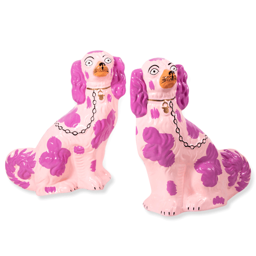 Furbish Studio - Staffordshire Dog Pair of Christmas Tree Ornaments in Lilac