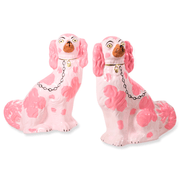 Furbish Studio - Staffordshire Dog Pair of Christmas Ornaments in Pink