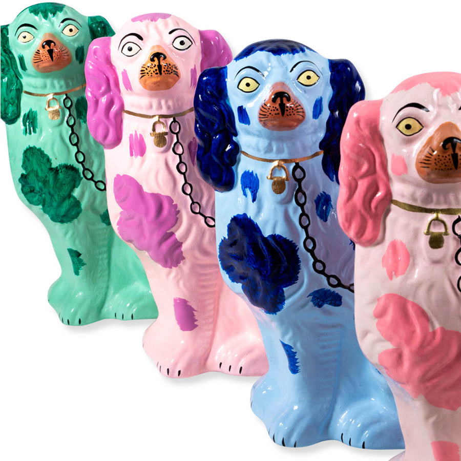 Furbish Studio - Staffordshire Dog Christmas Tree Ornaments showing all 4 colors green, pink, blue, purple