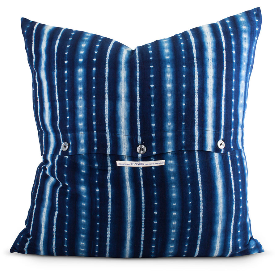 Furbish Studio - Sabina Shibori Euro Sham in Indigo view of back button closure