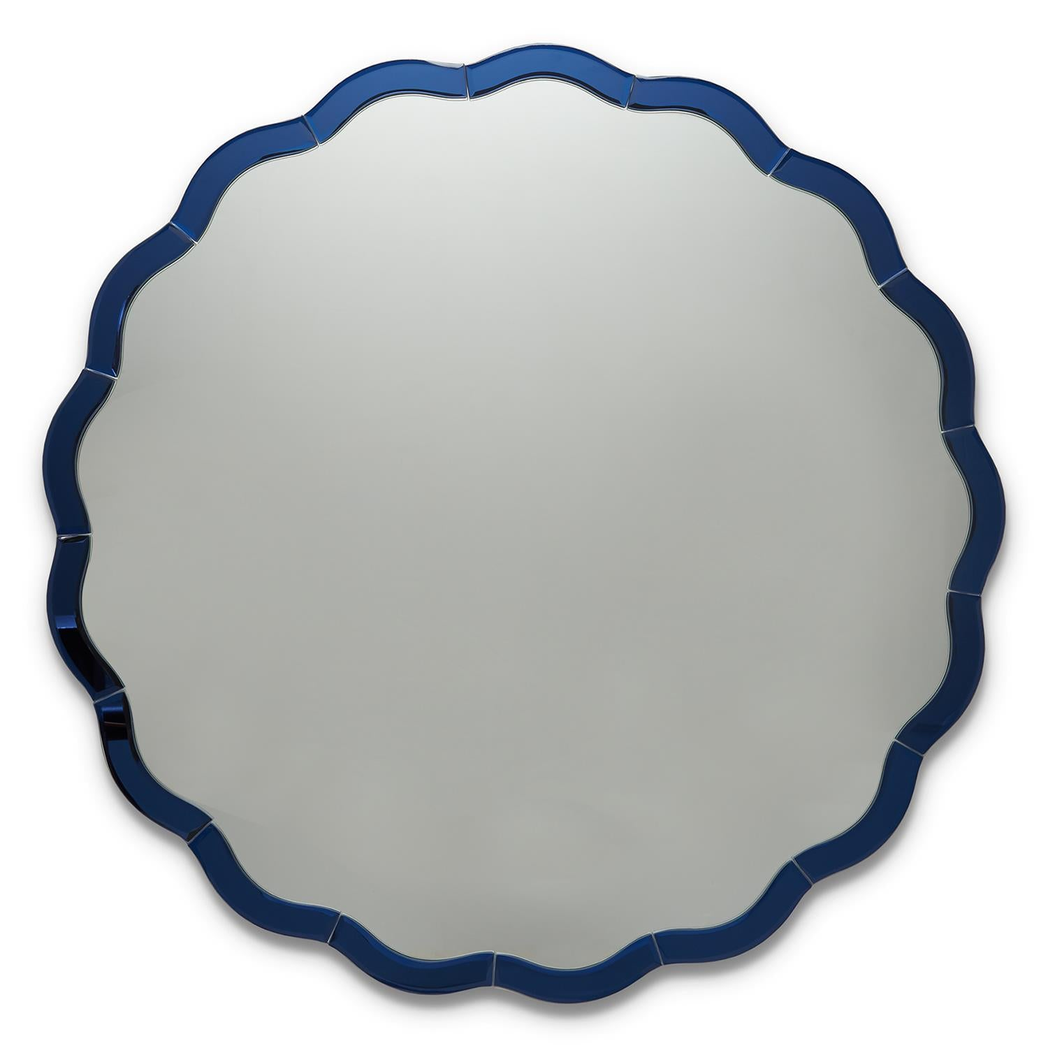 Sasha Round Scalloped Mirror - Blue