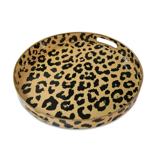 Furbish Studio - Round Leopard Tray with handles