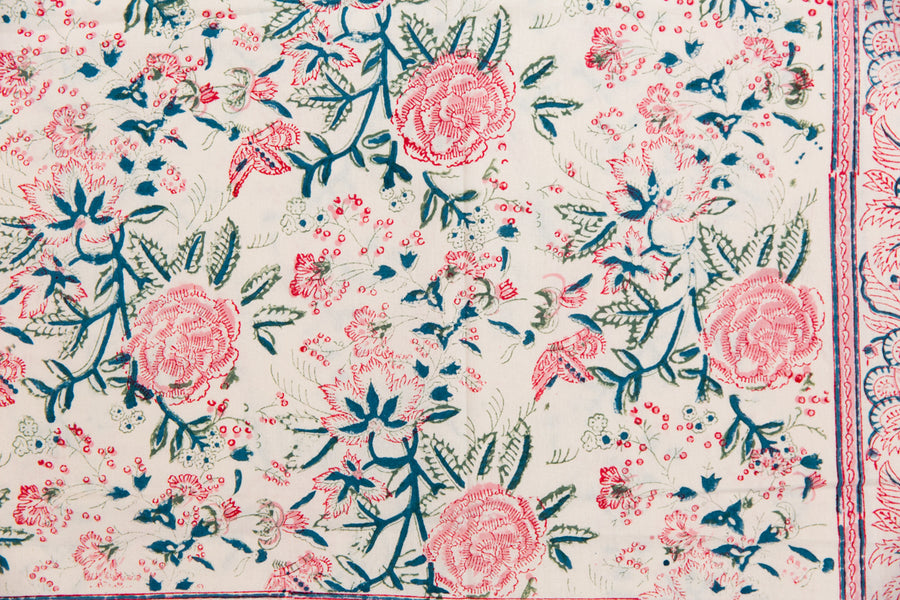 Furbish Studio - Shefali Tablecloth in pinks, greens, blues and cream floral closeup of fabric pattern