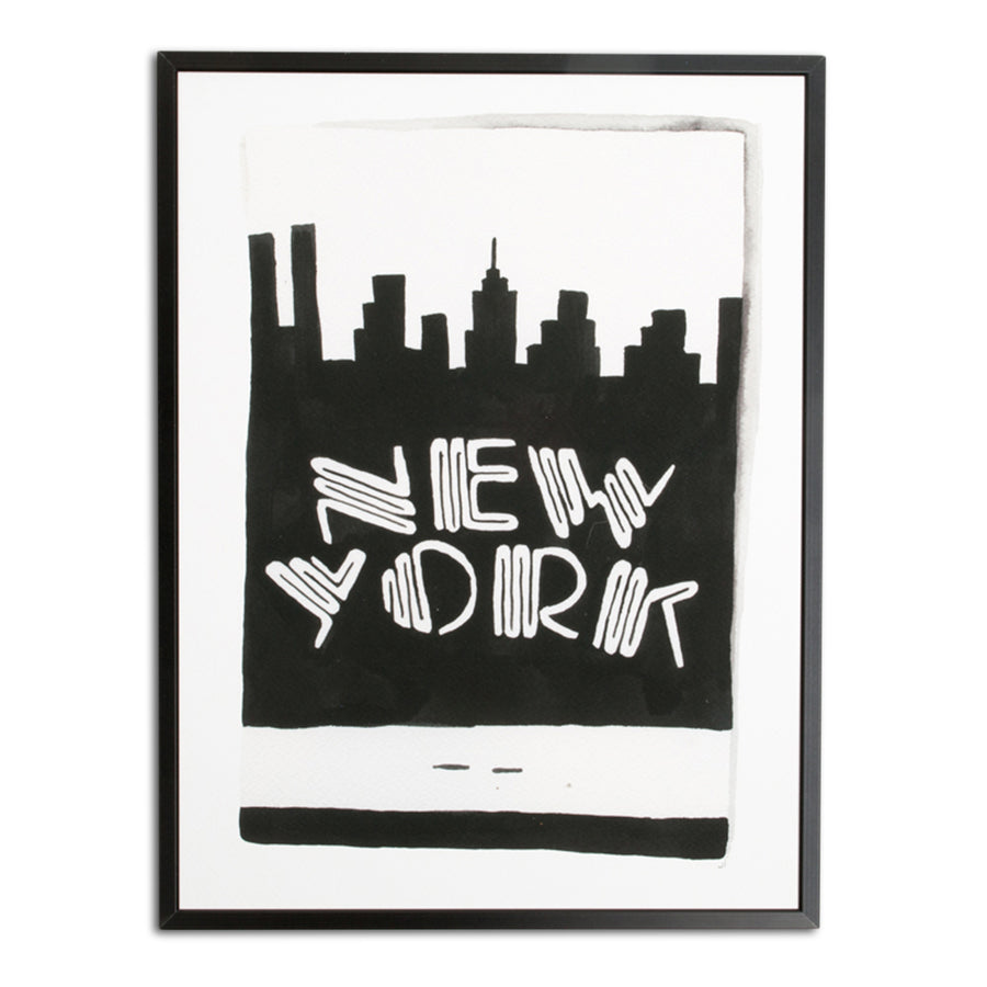 Furbish Studio - New York City Matchbook Watercolor Print large framed